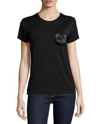 Short-Sleeve T-Shirt W/Embellished Pocket, Black