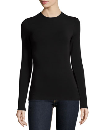 Long-Sleeve Jewel-Neck Top, Black