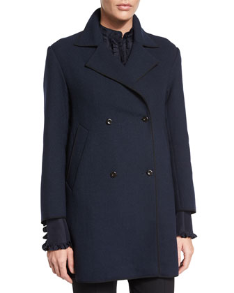 Double-Breasted Long-Sleeve Coat, Dark Navy