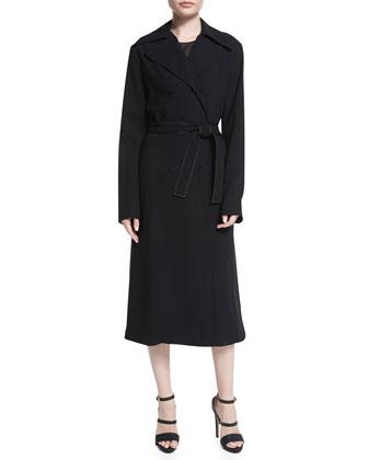 Belted Gabardine Trenchcoat, Black