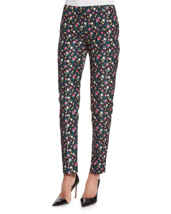 Slim-Fit Floral-Print Pants, Black