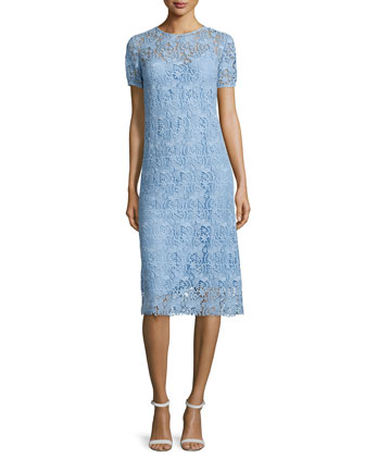 Short-Sleeve Lace Midi Dress, Sky Blue