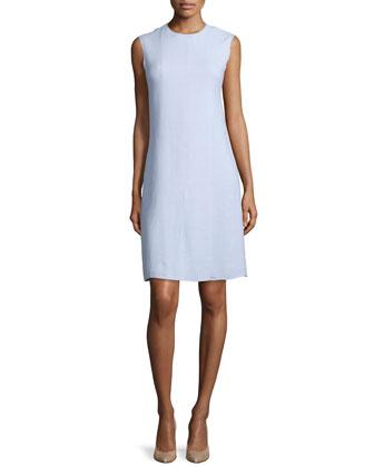 Sleeveless Jewel-Neck Linen Sheath Dress, Oxford Blue