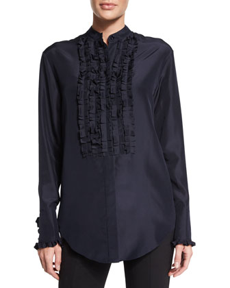 Ruffled-Bib Long-Sleeve Blouse, Dark Navy
