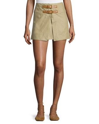 Tromp-l'Oeil Double-Buckle Mini Skirt, Ficelle