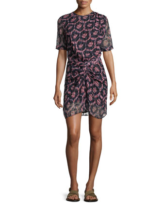 Printed Knot-Waist Half-Sleeve Dress, Red