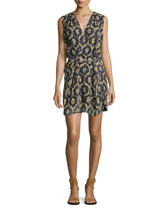 Sleeveless Laser-Cut Wrap Dress, Yellow