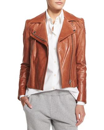 Quilted-Shoulder Leather Moto Jacket, Brick