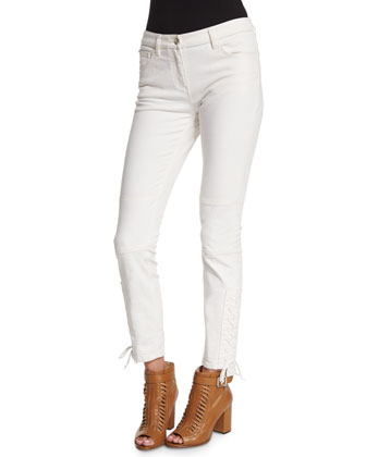 Mid-Rise Lace-Up Ankle Jeans, Off White