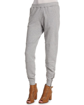 Ankle-Zip Easy Jogger Pants, Gray Melange