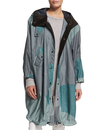 Oversize Camouflage-Print Hooded Coat, Spring Green
