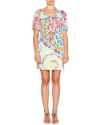 Short-Sleeve Mosaic-Print Sheath Dress, Celeste/Multi