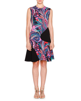 Sleeveless Two-Tone Multi-Print Dress, Nero/Smeraldo