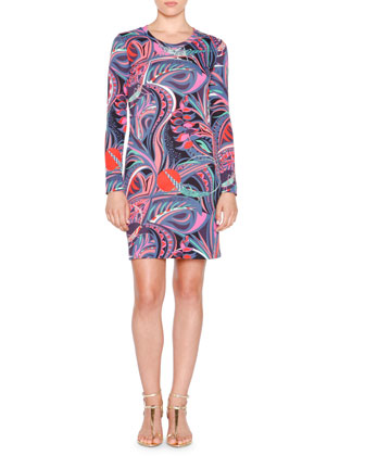 Long-Sleeve Multi-Print Sheath Dress, Nero/Smeraldo