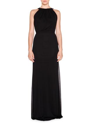 Sleeveless Jewel-Neck Gown, Nero