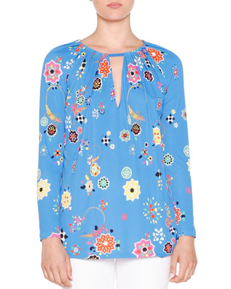Long-Sleeve Floral-Print Pleated Top, Blu Nilo