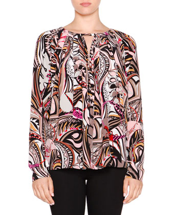 Long-Sleeve Printed Peasant Top, Beige