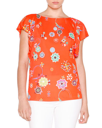 Flutter-Sleeve Floral-Print Top, Arancio/Multi Colors