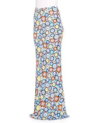 Floral-Print Maxi Skirt, Turchese/Arancio
