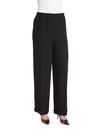 High-Waist Wide-Leg Pants, Nero