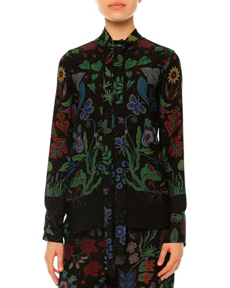 Water Song Long-Sleeve Blouse, Multi Colors