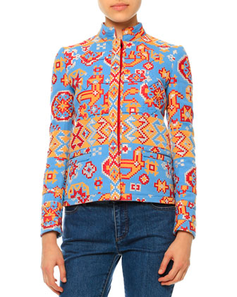 Long-Sleeve Tribal-Print Jacket, Sleeveless Tie-Neck Blouse & Mid-Rise ...