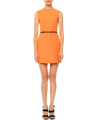 Sleeveless Jewel-Neck Belted Dress, Mandarin
