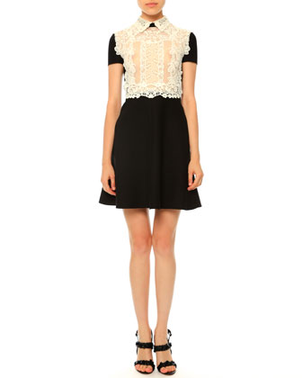Short-Sleeve Lace-Front Dress, Black/Ivory