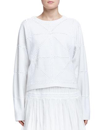 Cashmere-Blend Geometric Macrame Sweater & Pleated Tiered Mini Skirt