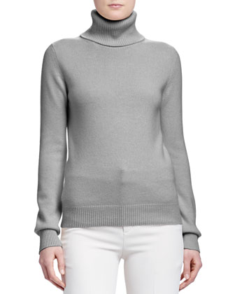 Turtleneck Cashmere Sweater, Gray