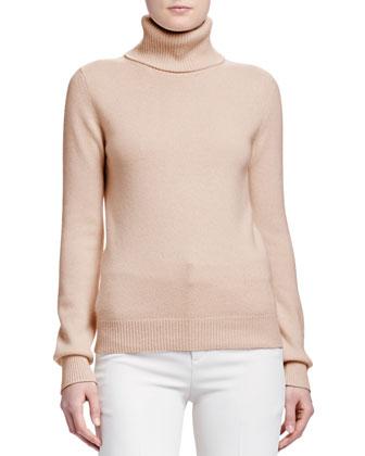 Turtleneck Cashmere Sweater, Camel