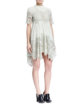 Floral-Embroidered Pleated Handkerchief Dress, Light Green
