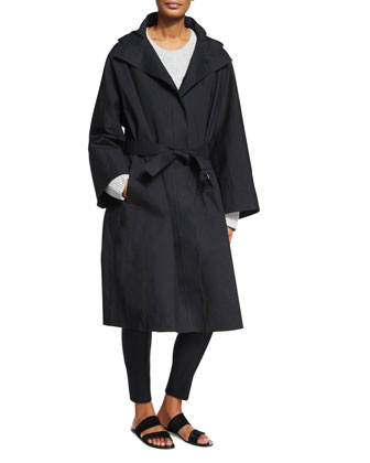 Oversized Hooded Coat, Long-Sleeve Ribbed Sweater & Caro Mid-Rise Ankle Pants
