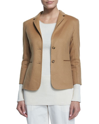 Button-Front Fitted Jacket, Camel