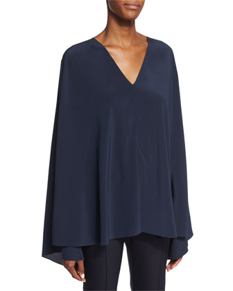 Staram Belted Trapeze Top, Navy