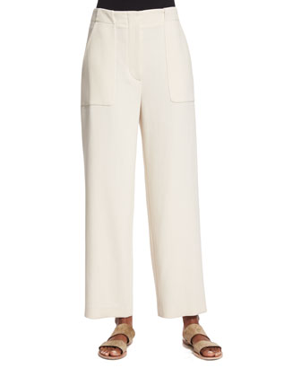 Wide-Leg Cropped Utility Pants, Ivory Cream