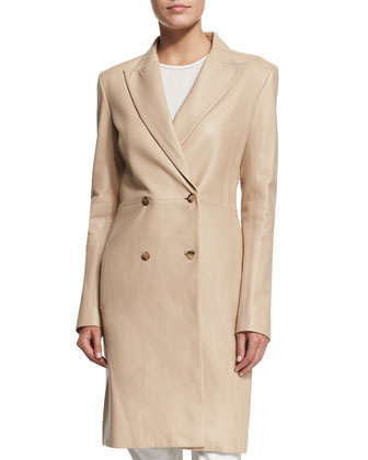 Gerrick Leather Double-Breasted Coat, Soap Stone