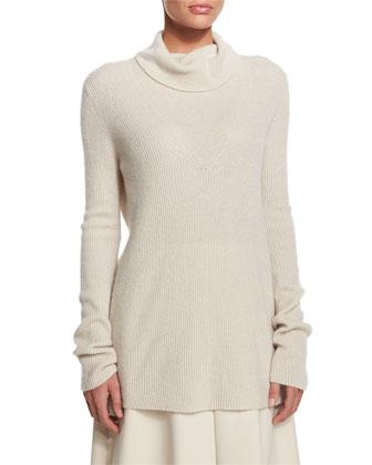 Keola Funnel-Neck Cashmere Sweater, Dark Ivory