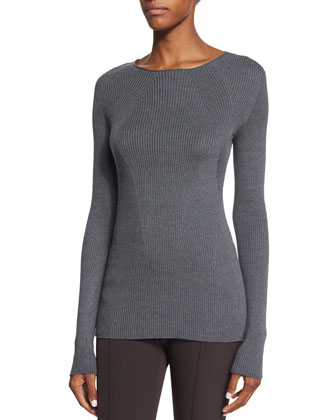 Aven Ribbed Long-Sleeve Sweater, Graphite