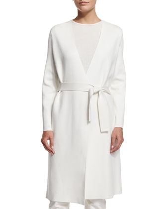 Wrap-Front Belted Coat, Off White