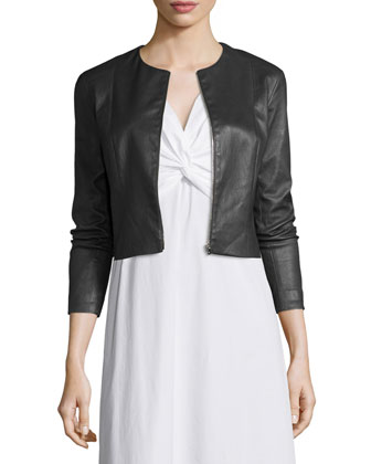Stanta Leather Cropped Zip Jacket, Pewter