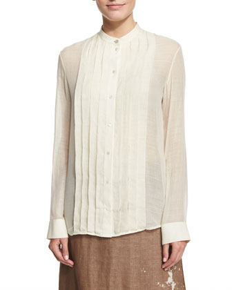 Soraya Pleated-Front Shirt, Ivory Cream