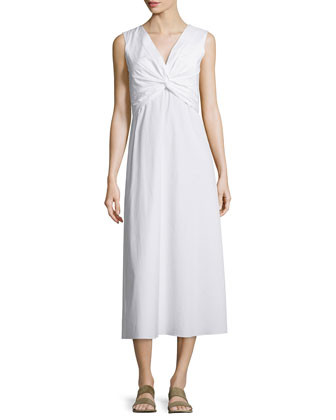 Sleeveless Twist-Front Midi Dress, White