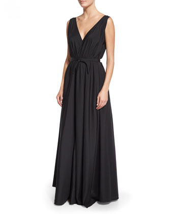 Silk Organza Self-Belt Gown, Black