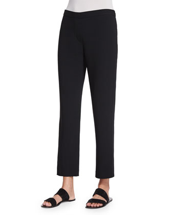 Straight-Leg Cady Ankle Pants, Black