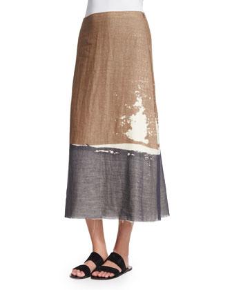 Loria Screen-Print Colorblock Skirt, Ivory Cream