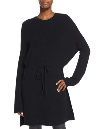 Cashmere Tunic Sweater, Black