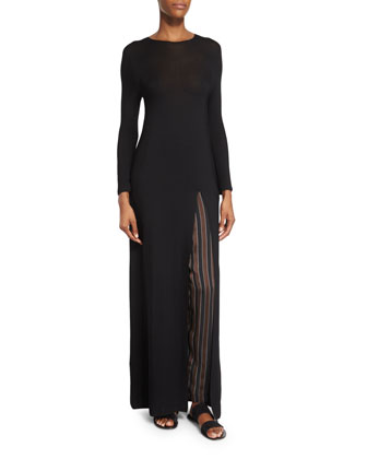 Ethel High-Slit Long Dress, Black