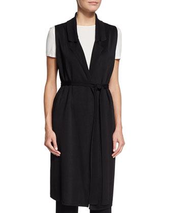 Belted Long Tunic Vest, Black