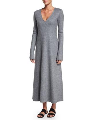 Nidia Long-Sleeve Midi Dress, Gray Melange